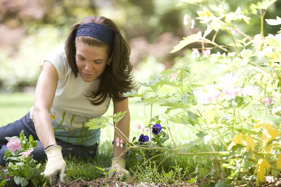 mindful gardening practicing woman