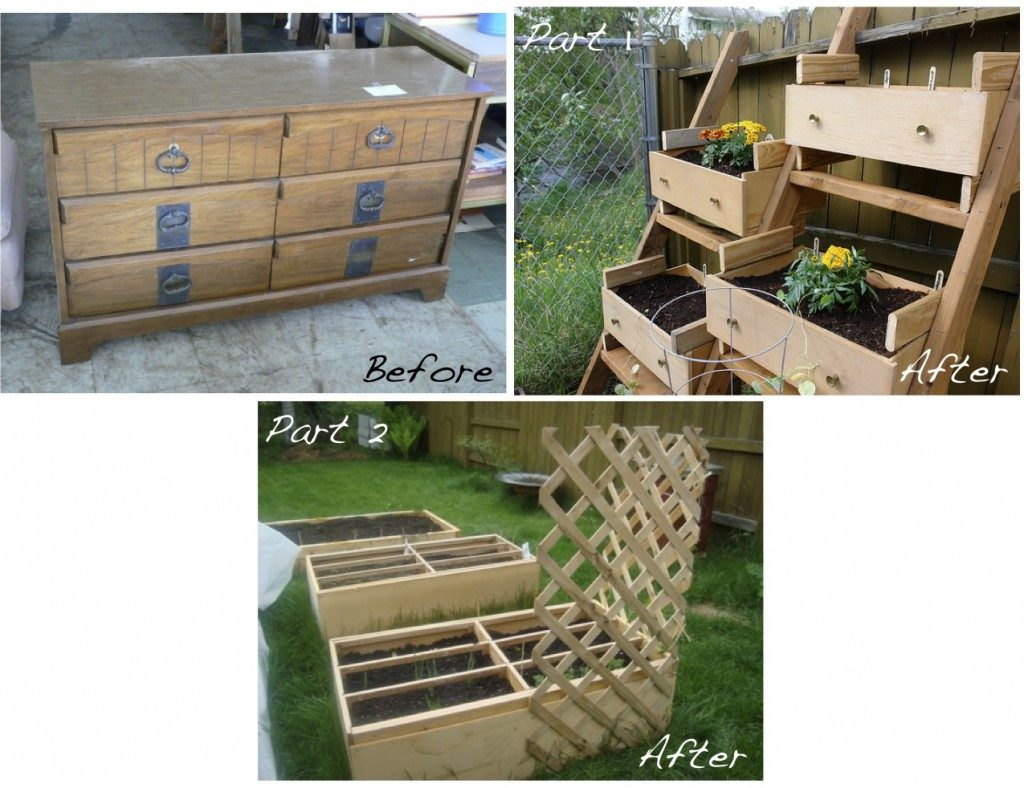 old dresser raised planter