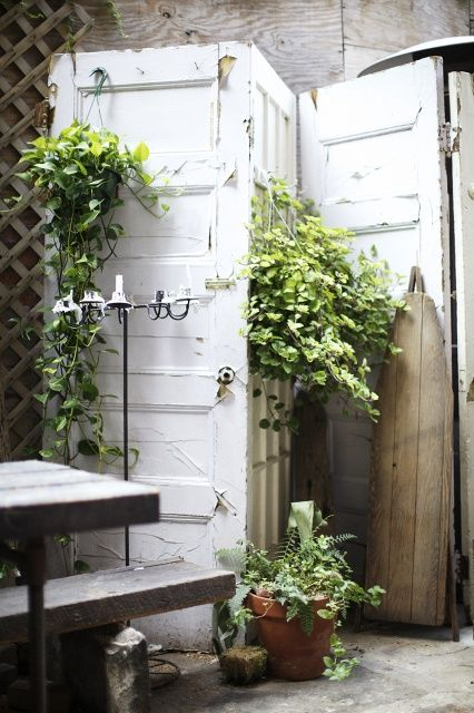 white wooden vintage garden gate