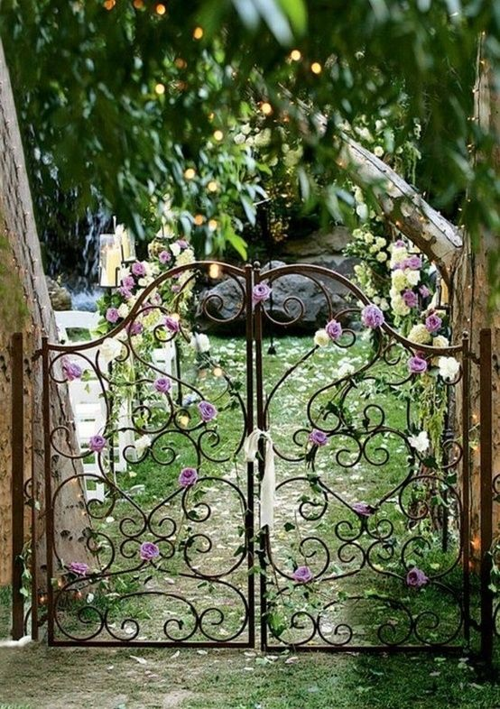 cast iron gate with flowers