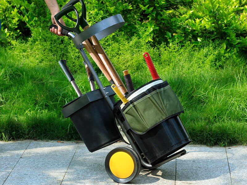 garden utility cart filled with tools