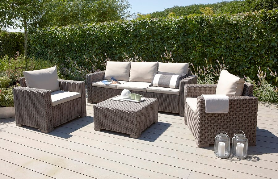 wicker garden furniture set in grey