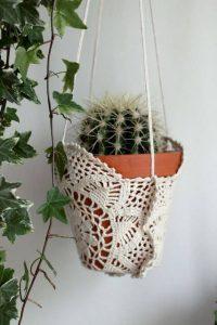 rope plant hanger doily
