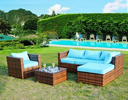 aqua garden furniture by the pool