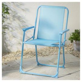 aqua folding chair to use for picnics