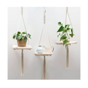 rope plant hanger wood planks
