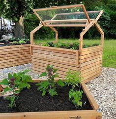 raised vegetable garden covered