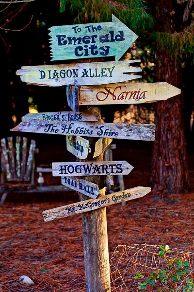 diy garden ideas for kids magic places road sign