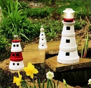 diy garden ideas for kids pots lighthouse
