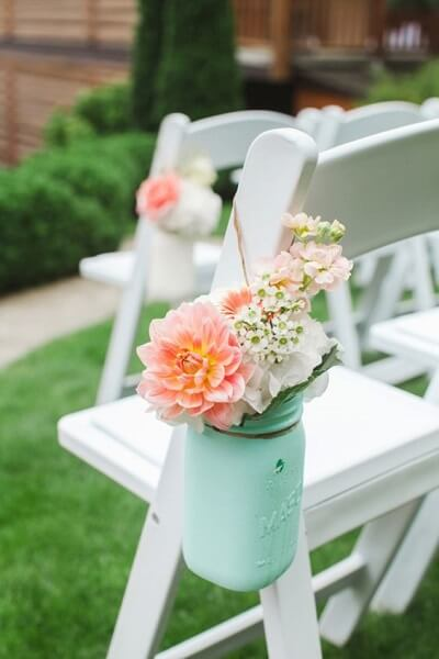 garden wedding ideas mint and peach