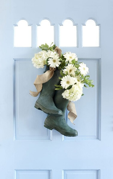 garden wellies planters door decoration