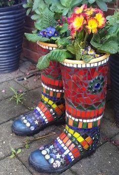 garden wellies planters mosaic design