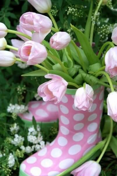 garden wellies planters pink tulips