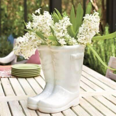 garden wellies planters white centerpiece