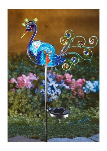glass-peacock decorative garden stakes