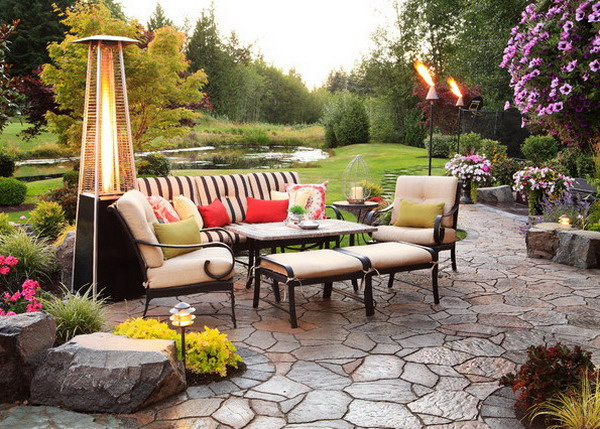 outdoor seating area with garden heater