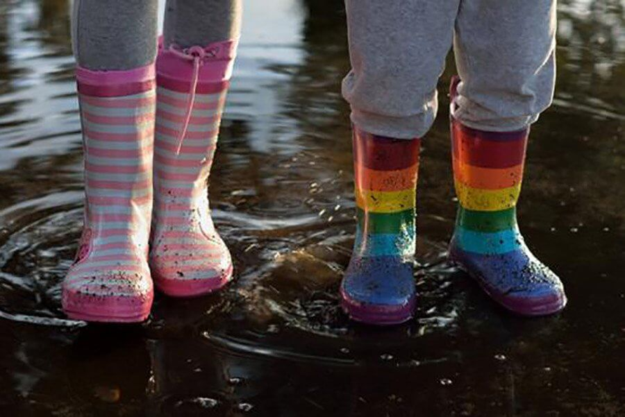close up of two kids wearing colorful kids wellies