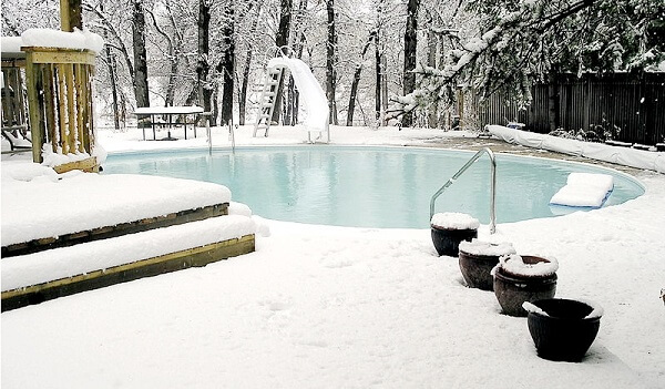 a pool in winter