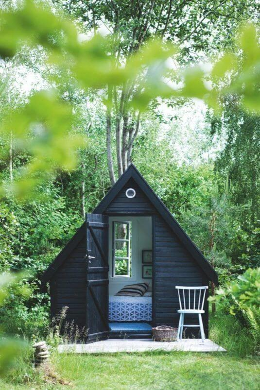 backyard shed painted black