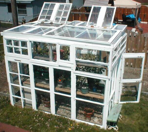 small greenhouse made of windows
