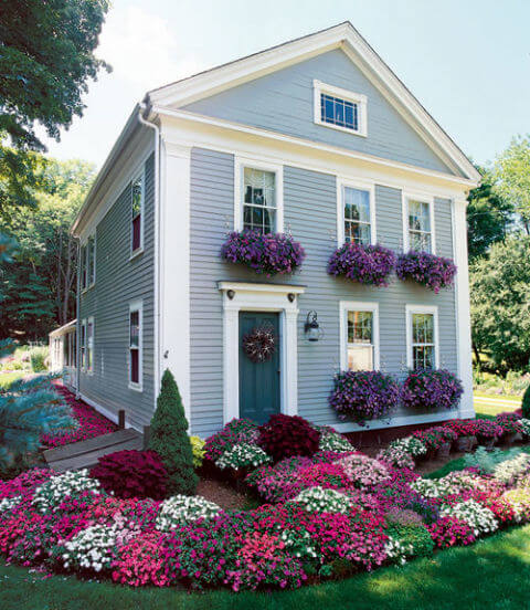 front yard of a house filled with flowers in different shades of purple