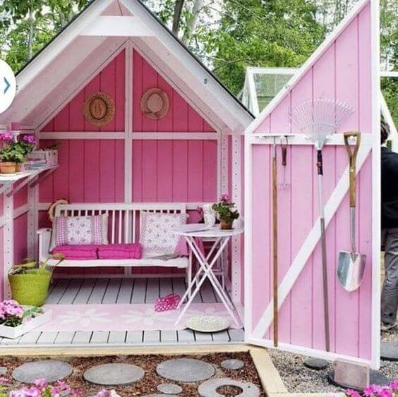 backyard shed painted and decorated all in pink