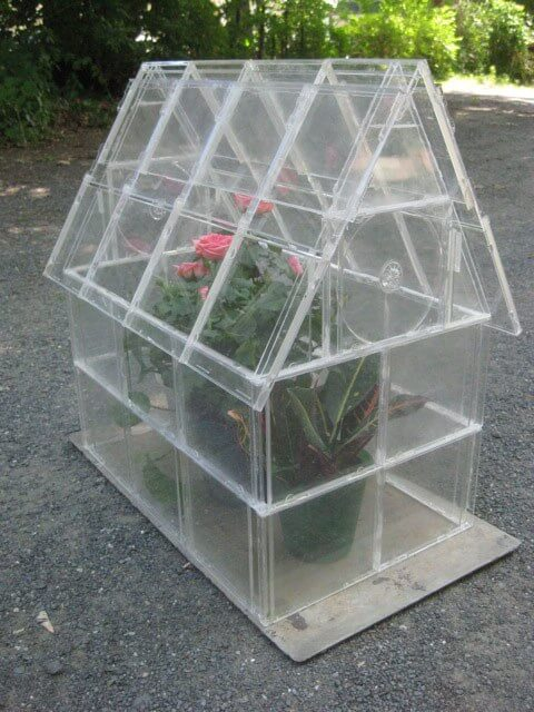 greenhouse made of empty cd cases