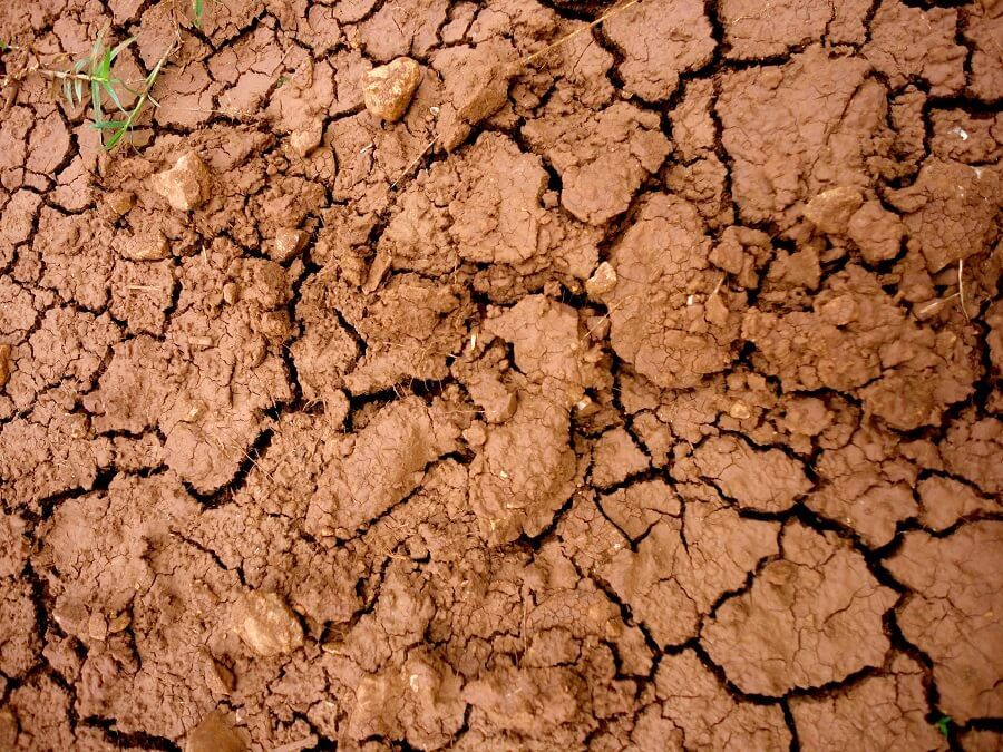 close up image of some red cracked clay soil