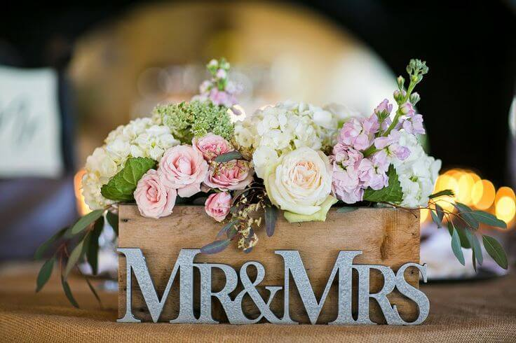 mr and mrs wedding centerpieces with flowers