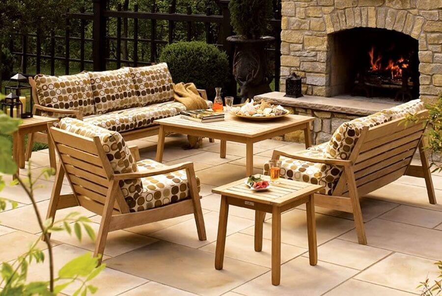 teak outdoor furniture set with cushions