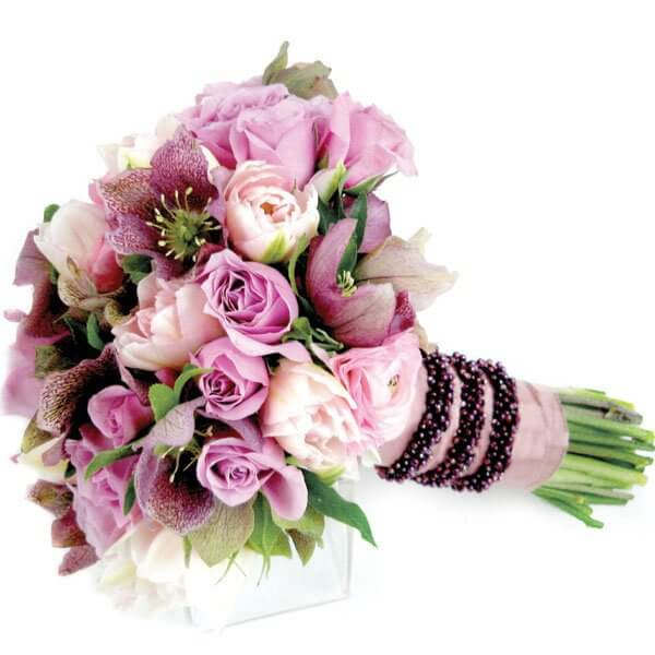 bouquet with flowers of different purple shades