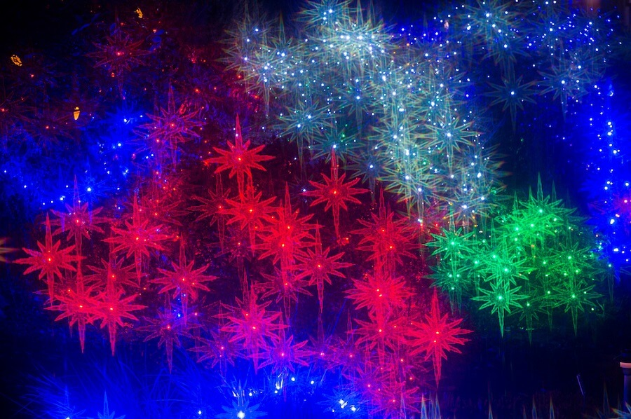 colorful stars used as christmas lights