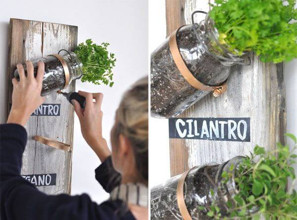 collage of woman making a vertical herb garden display