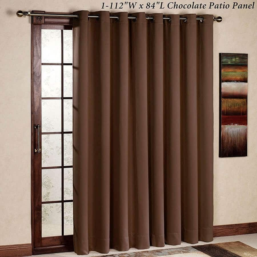 chocolate colored curtains on a patio door