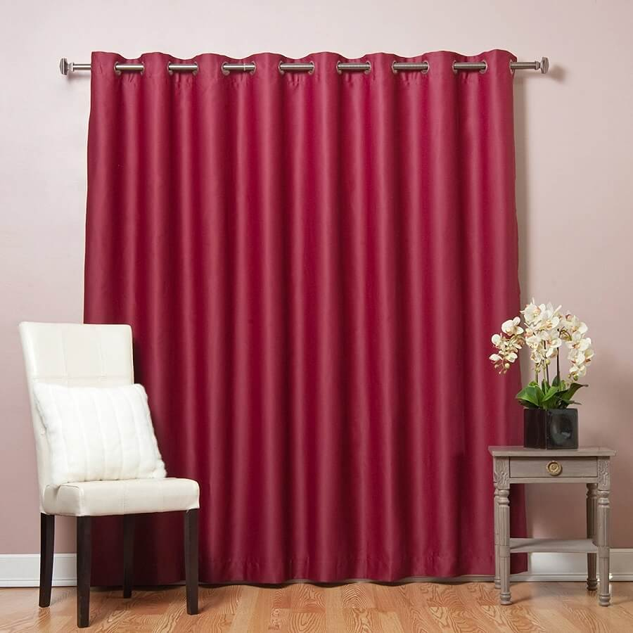 burgundy curtain for patio door