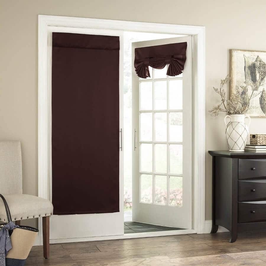 chocolate colored curtain panels on a patio door