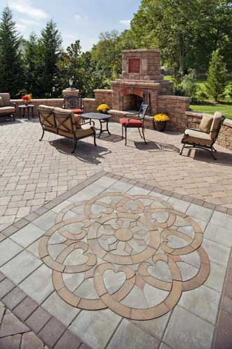patio with an interesting paving design