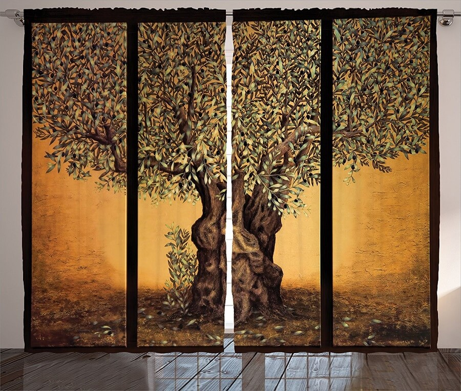 patio door with tree of life print curtains on it