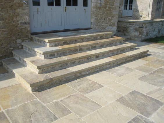 patio stairs paved with stone