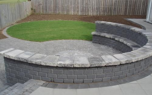 patio seating area paved with stone