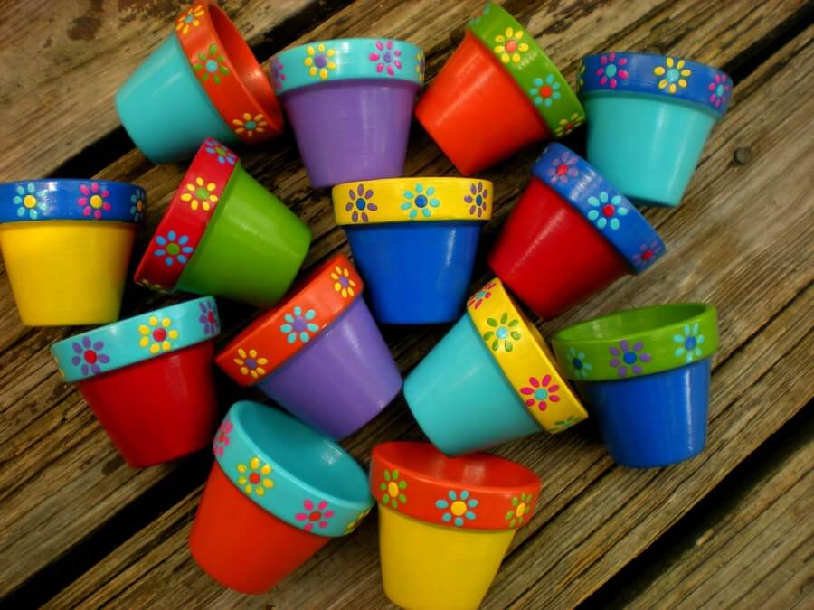 multiple colorful pots
