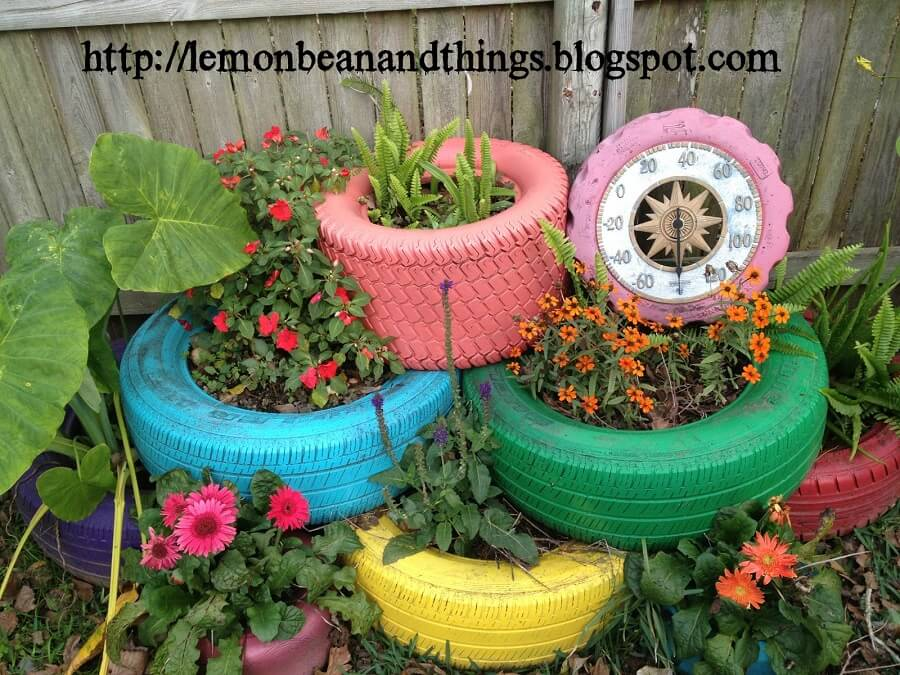 plants growing from tires, garden planters diy