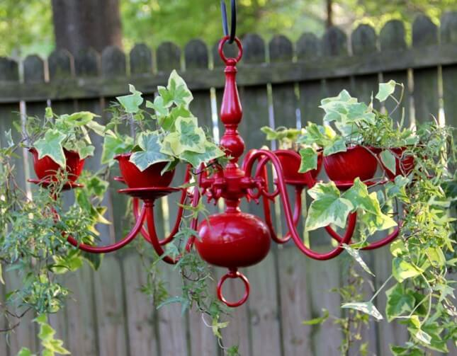 red chandelier serving as a garden planter, garden planters diy