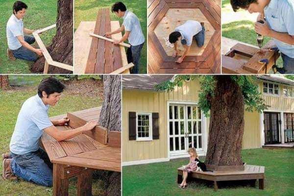 collage of how to make a wood bench around a tree