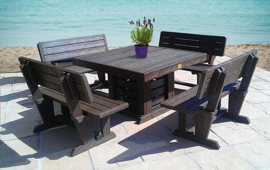 recycled plastic garden furniture set near the ocean