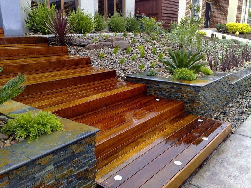 shiny steps made out of landscape timbers