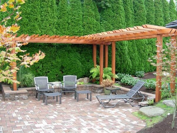 pergola made of timber, landscape timbers