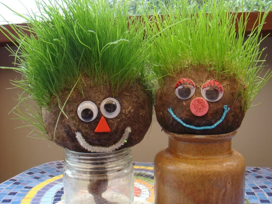 grass head dolls in jars, keep gardening interesting