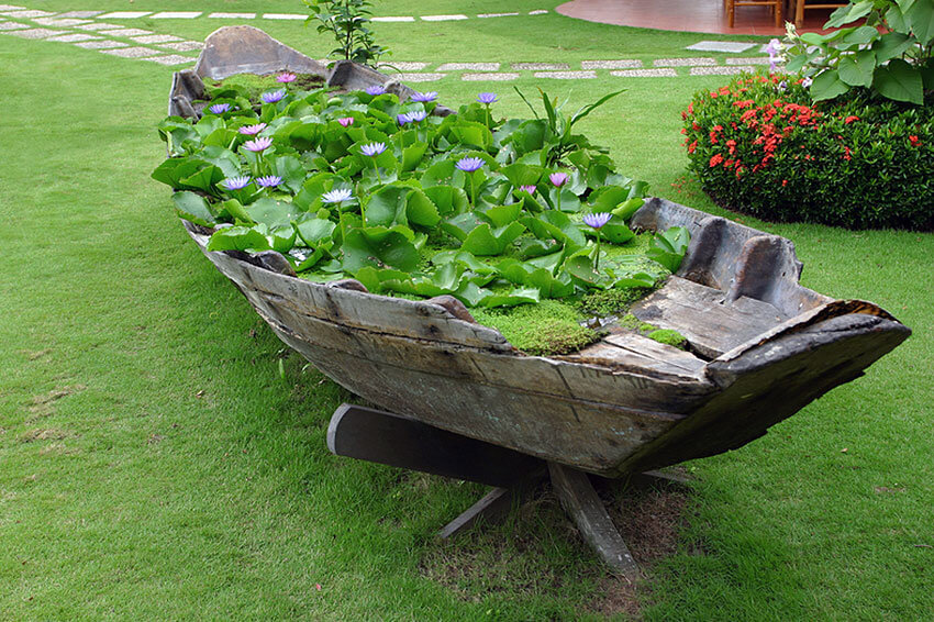 boat used as a water garden