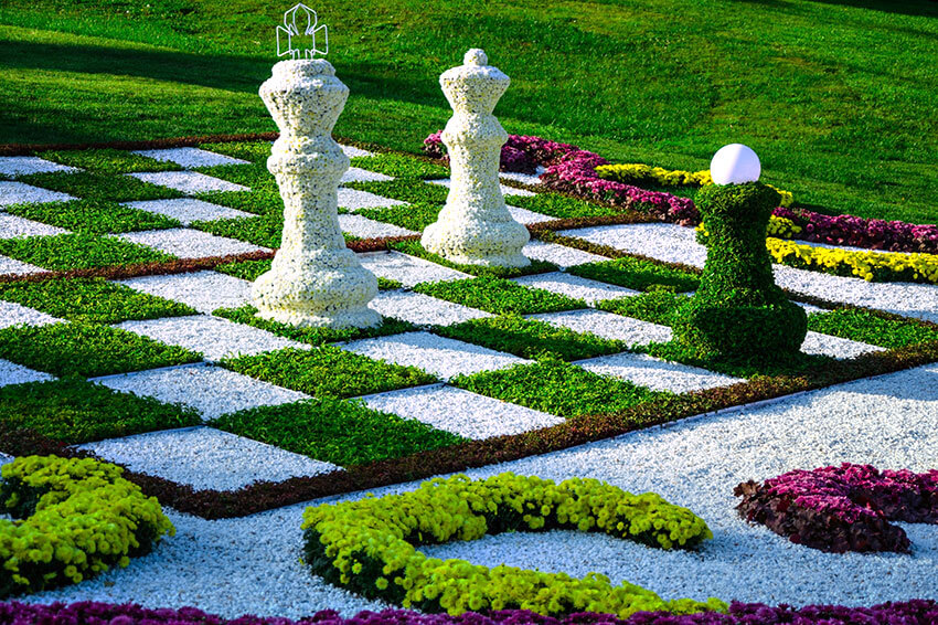 realistic chess table made from plants